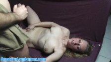 Nasty milf gets load on tits after lapdance