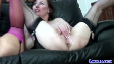 Mature milf in stockings clit pleasuring babe