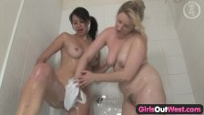 Girls Out West - Hot lesbians take a shower