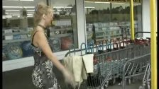 Helpless lady is picked up at store