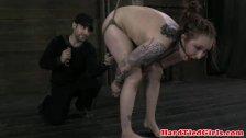 Tattood tied up ball gagged sub punished