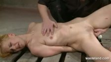Ginger women tied up and fingered by dungeon