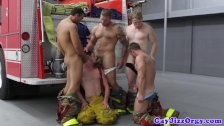 Orgy with muscular fireman Colby Jansen
