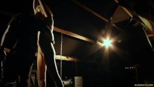 Leashed in chains slave suck cock after spank