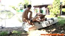 Latin gay trios outdoor hj and bj action