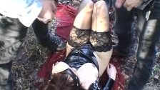 Wife pissed on by many guys in a public park