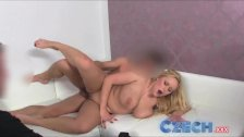 Czech - Busty Blonde gets sprayed with spunk
