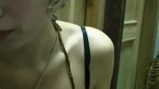 Sexy amateur tits shown in the cafe before