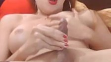 Gorgeous Busty Shemale Masturbating her Hard