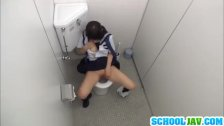 Japanese teen gets orgasm on toilet