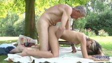 Nasty blonde tease old geezer to get fucked