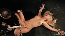 Blonde hard fucked by machine while bound in