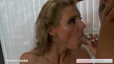 Busty milf Phoenix Marie swallows cum