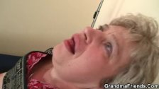 Grandma in black stockings sucks and rides