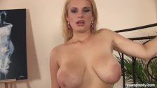 Busty young blonde Tiana toy cunt