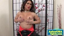 Asian tgirl Lisa Long toying her ass
