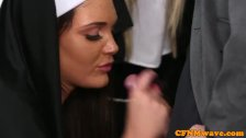 Nuns Tiffany and Emma in rough cock tug