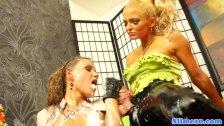 Strapon weilding lesbian dominates euro slut