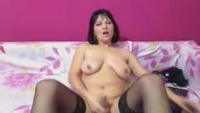 Busty Tranny Wanking her Cock