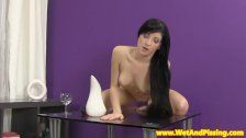 Pissdrinking raven babe masturbating with toy
