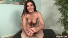 A brunette cutie is jerking your own dick