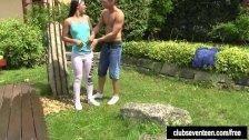 Brunette teen Vivien get fucked in the garden