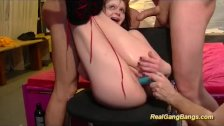 redhead flexible teen in wild gangbang