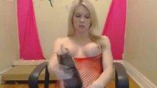 Gorgeous Blonde Tranny Masturbate her Cock