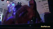 Wild dame takes guy on sexfair stage