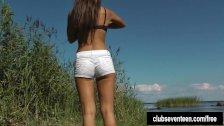 Tanned brunette teen Tara masturbating