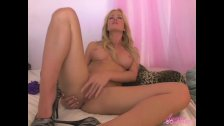 Hot blonde dances on webcam then masturbates