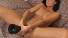 Tight milf India Summer riding a brutal dildo