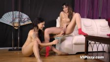 Naughty girls swap hot pee