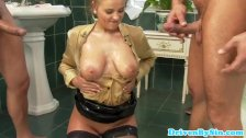 Busty russian babes dp fun with two plumbers