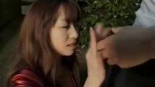 Mirai shows her huge cans and sucks boner