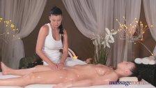Massage Rooms Lesbian with big tits cums hard