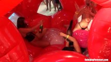 Wet slags suck and fuck cocks at party