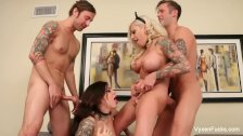 Vyxen & Karmen have a hot fucking foursome