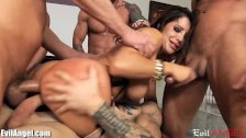 EvilAngel Slutty MILF DP and Facial Gangbang  - duration 7:20