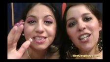 cute girls in her first gangbang orgy