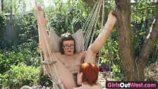 Girls Out West - Hairy dykes licking holes