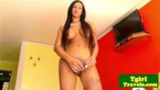 TGirl Ariadna Kelly in monokini teases