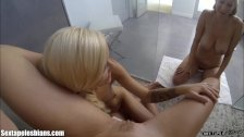 Teen Lesbians Eat Pussy in The Shower 3Some