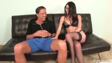 Horny slut jerks off her step-dad