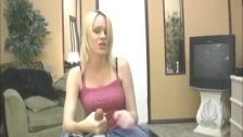 Horny blonde teen jerks off a man