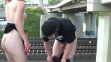 Cute young teen railroad PUBLIC sex