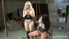 Naughty Asian slave girl wrapped in film