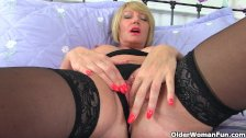 British milf Amy in black stockings