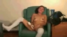 Asian amateur with white stockings toy fuckin