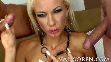 blonde girl double penetration anal threesome